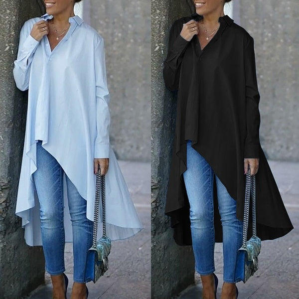 Womens Fashion Long Sleeve Lapel Collar Buttons Irregular Hem Cotton Party Prom Blouse Shirts Plus