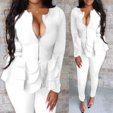 2 Piece Outfits for Women - Deep V Neck Ruffled Long Sleeve Solid Color Blazer Top with Pants Casual Elegant Business Suit Sets