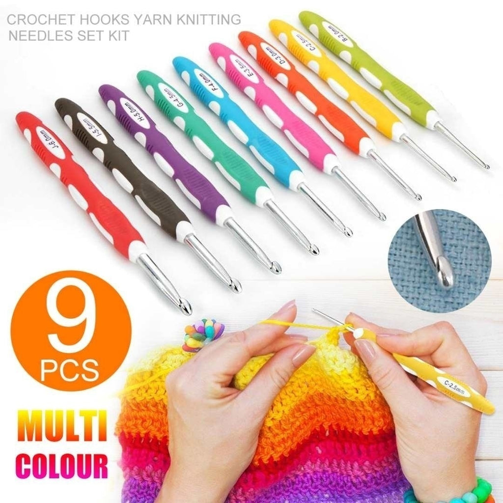 9 Pcs/Set Sewing & Knitting Supplies Ergonomic Crochet Hook Set Crochet Needles Knitting Needle Sewing Accessories