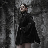 Gothic Wiccan Moon Hoodie Women Fashion Poncho Cape Velvet Witch Hooded Punk Cloak Coats