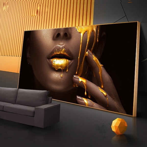 Mural picture living room  female face and gold liquid, home decor poster HD canvas painting