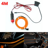 4M 12V Car Interior Led Lights Dash Trim Mounting Car Atmosphere Light Decor LED Strip Lamp Flexible Cold Lights LED Strip Lamp