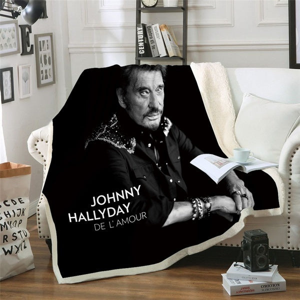 3D Johnny Hallyday France Elvis Presley Blanket for Beds Hiking Picnic Thick Quilt Fashionable Bedspread Fleece Throw Blanket P121
