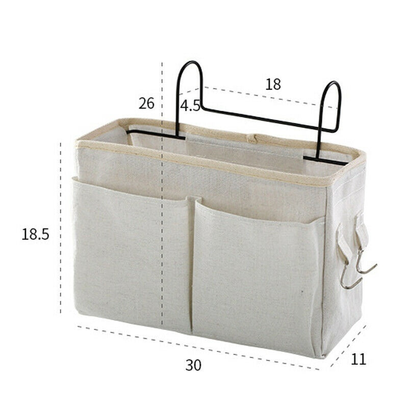 1x Storage Bag Basket Hook Office Desk Dormitory Bedside Bed Dorm Hanging Canvas Organizer Cloth Caddy Holder Magazine Phone Pocket 1Pc Bed Organizer Bedside Pockets Gadget Storage Holder Couch Hanging Bag Home