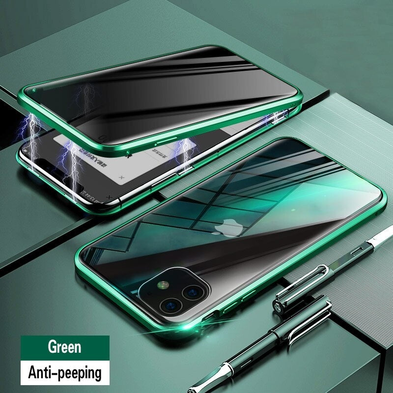 360 Luxury Magnetic For IPhone 11 Pro Max Case ,Tempered Glass Cover For Apple IPhone 11 Pro 11 XS MAX XS XR X Privacy Protection Case Screen Protector
