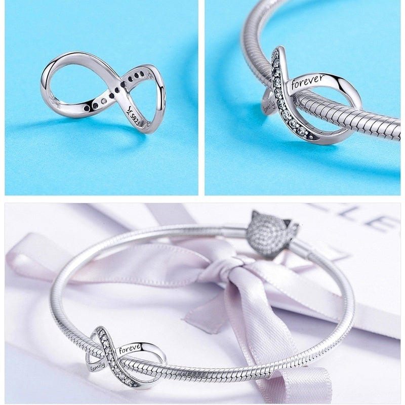 Authentic 925 Sterling Silver Infinity Love / Animals / Guardian Angel Beads Charms Fit for Silver 925 Jewelry Making