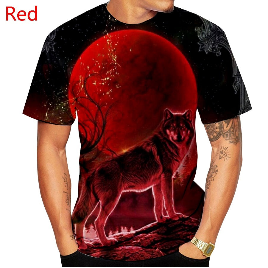 New Cool 3d Wolf T Shirt Couple T-shirts Spring and Summer Men Short Sleeved T Shirts Tops XS-5XL