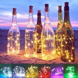 1M 10Leds / 2M 20Leds Wine Bottle Lights with Cork Battery Operated LED Cork Shape Silver Copper Wire Colorful Fairy Mini String Lights for DIY Party Decor Christmas Halloween Wedding