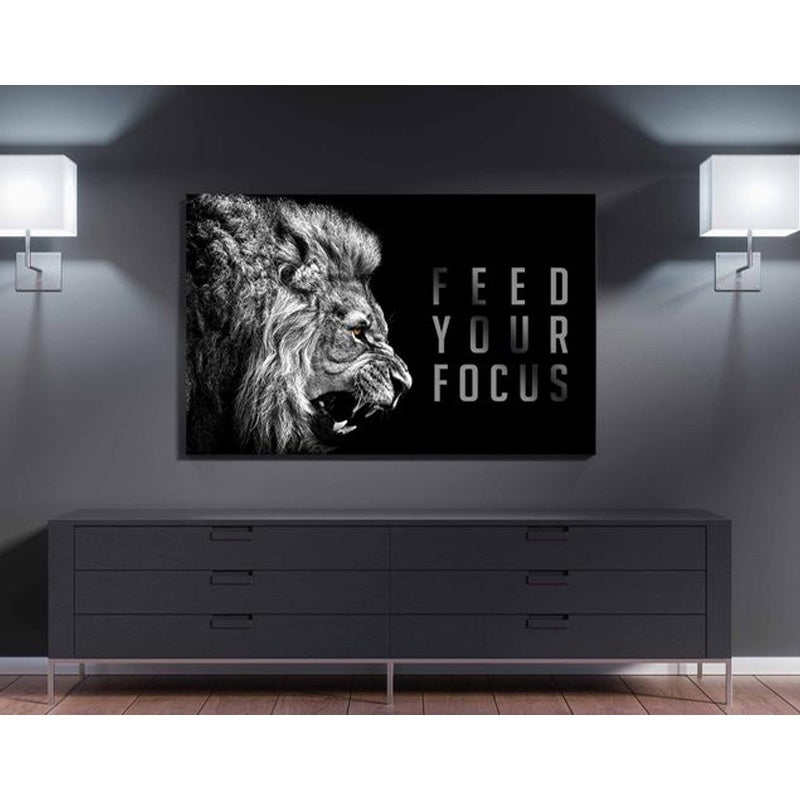 Large Size Feed You Focus Lion Posters Black White Motivational Quotes Art Canvas Print WALL Painting Arts Home Decoration Design Without Frame