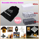 3 Colors Reusable Whiskey Stones Ice Cube Rocks Whisky Wine Beer Beverage Chilling Rocks with Storage Bag for Ice Drink