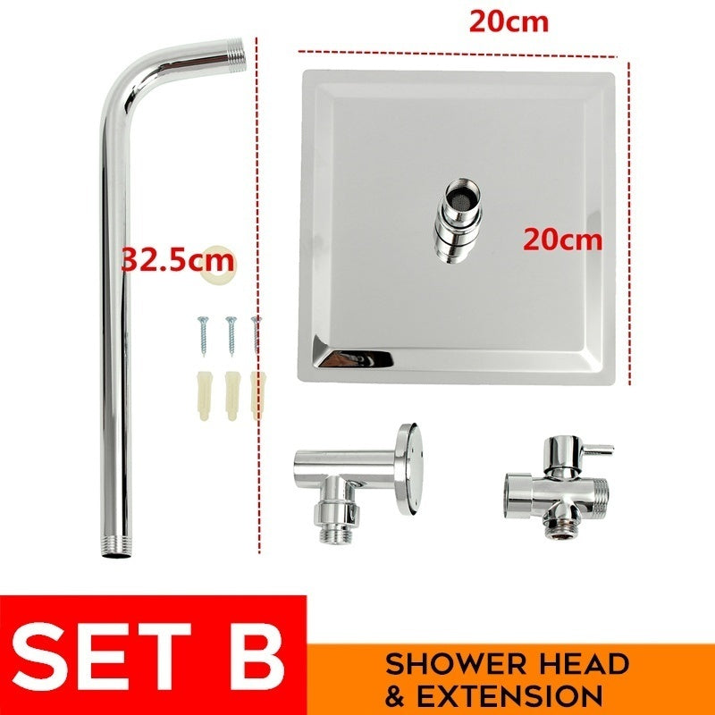2 Sets of 8 inch Square Shower Head Extension Shower Arm Bottom Entry Diverter Valve Tools