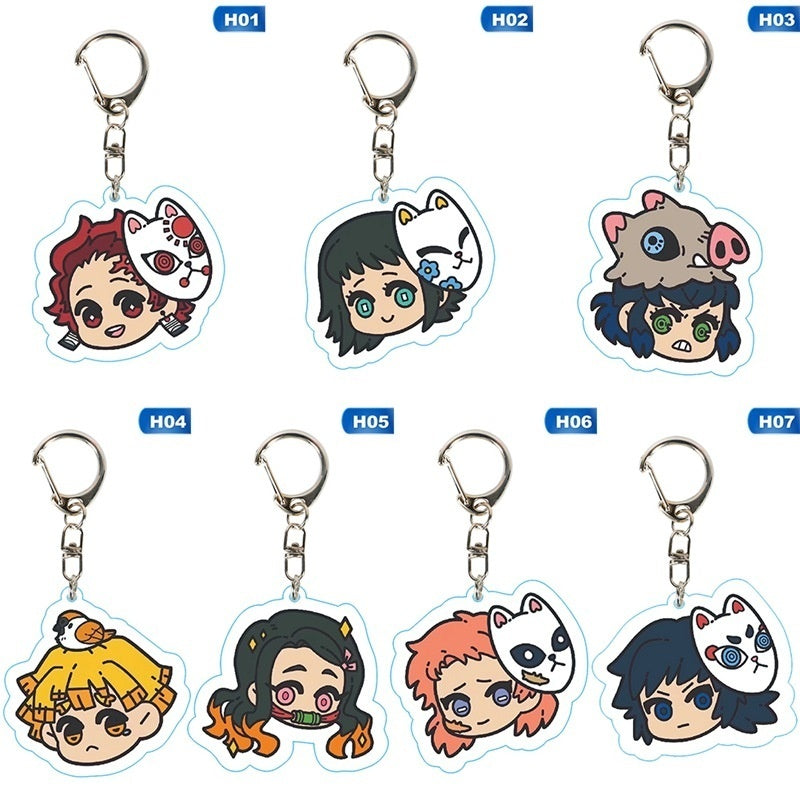 13 Styles Cute Demon Slayer Kimetsu No Yaiba Acrylic Keychain Anime Keyring Pendant Decoration Cosplay Anime Gifts