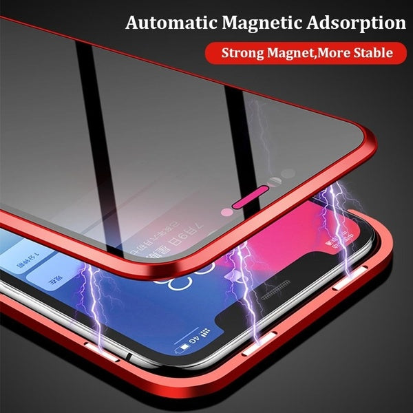 360 Protection Privacy Glass Magnetic Metal Case Anti Peep Magnet Metal Bumper Full Body Protection Cover for IPhone XS 11 Pro MAX XR X 8 7