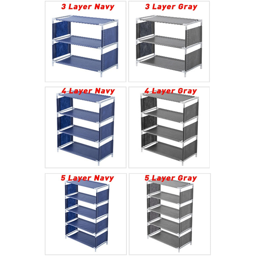 3/4/5 Layer Non-woven Shoe Rack Large Size Living Room Fabric Dustproof Cabinet Organizer Holder DIY Foldable Stand Shoes Shelf
