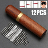 12PCS Stainless Steel Self-threading Needles Opening Sewing Darning Needles Set