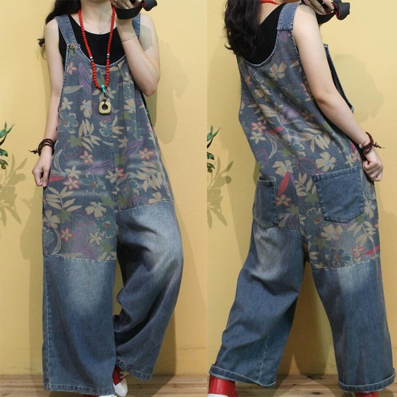 Women Printed Wide Leg Thin Jumpsuits Plus Size Ladies Print Overalls Female Casual Oversize Rompers Vintage Pants Trousers