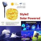 1M/2M/5M/10M/15M/20M  Solar String Lights 8 Modes Solar Powered /USB Powered Copper Wire Fairy Lights IP65 Waterproof Indoor Outdoor Lighting for Home, Garden, Party, Path, Lawn, Wedding, Christmas, DIY Decoration 1 Pack