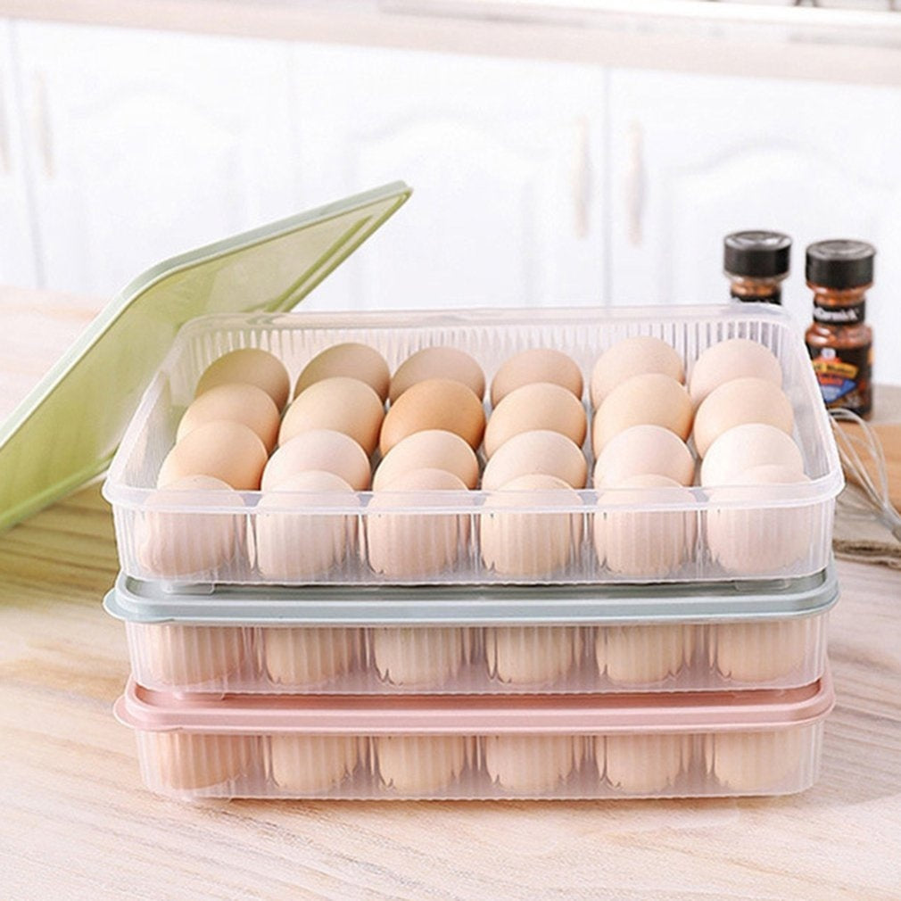 24 Compartment Eggs Holder Single-Layer Egg Preservation Tray Fresh Box with Lid Plastic Storage Egg Box