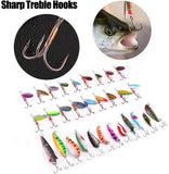 30PCS Metal Fishing Lures with Treble Hooks Assorted Inline Spinner Baits & Spoons for Bass Salmon Trout Freshwater