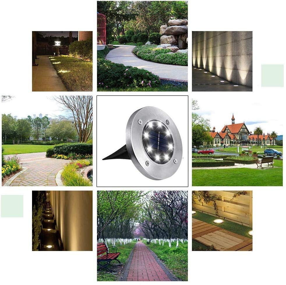 8 LED Outdoor Solar Disk Lights, Waterproof In-Ground Lights, Solar Garden Lights, Landscape Lights for Pathway, Yard, Deck, Patio, Walkway