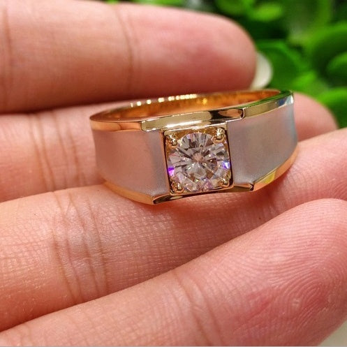 Fashion Simple Men 1.0ct Round Cut Natural Gemstone Diamond Ring 18k Gold Filled Engagement Wedding White Sapphire Rings Mens Rings Fine Jewelry Accessories Size 6-13