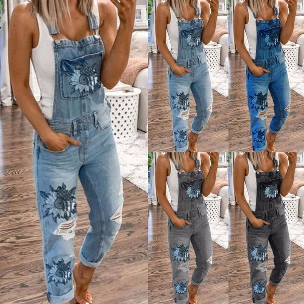 Fashion Womens Sunflower Printed Denim Overalls Jumpsuit Washed Ripped Broken Hole Jeans Long Skinny Jeans Romper Bib Pants