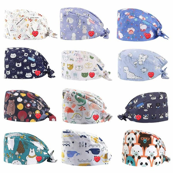Doctor Nurse Nurse Operating Room Hat With Button Cartoon Print Sweatband Adjustable Bouffant Hats Headwear