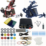 Starter 2 Tattoo Machine Guns Kit Tattoo Power Supplies Grips Set Body Art Tool For Beginner
