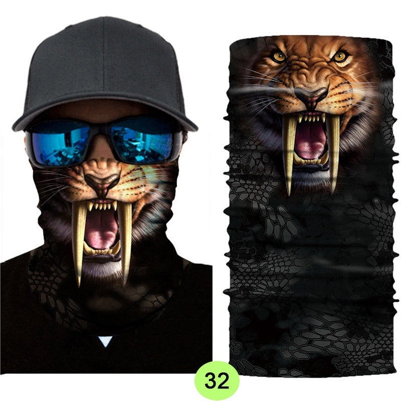 Funny Animal Multi-function 3D Skull Neck Face Mask UV Protective Cycling Skiing Hiking Balaclava Headband Bandana Magic Scarf Masks