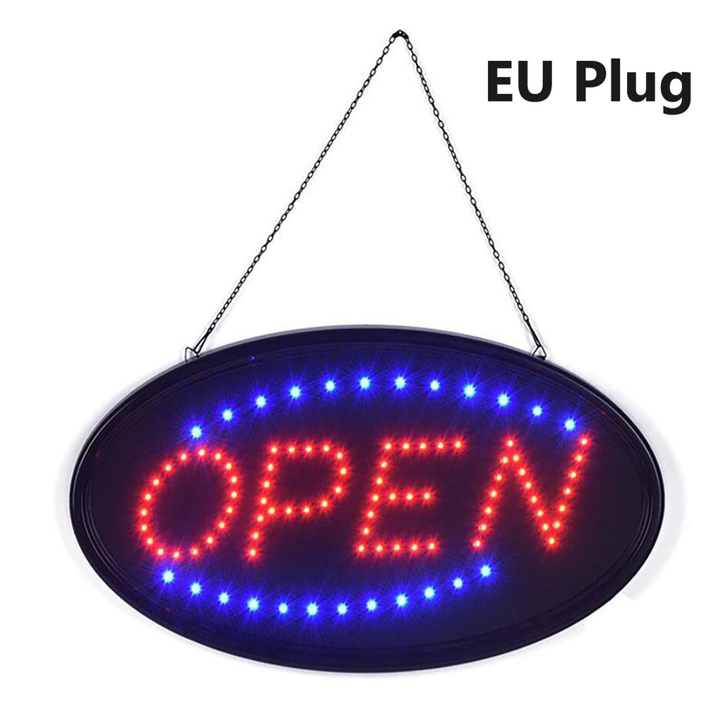 US / EU Plug 25x48cm OPEN Sign LED Blinking Neon Light Sign with 2 Lighting Flashing Modes for Business Bar Store