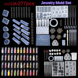 115/128/277PCS Silicone DIY Jewelry Mold Pendant Mould Making Craft Kit