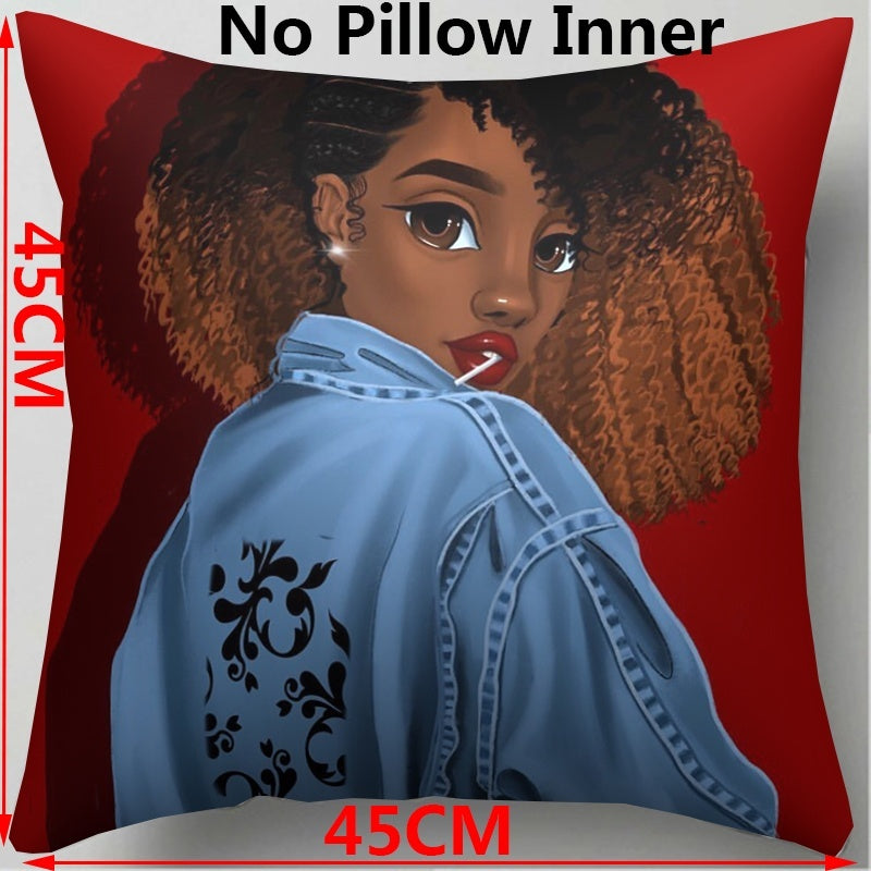 17.7x17.7 Inches African Beauty Afro Puffs Inspirational Melanin Poppin Black Girl  Single Sided Print  Polyester Throw Pillow Cover Car Cushion Cover Sofa Home Decorative Pillowcase