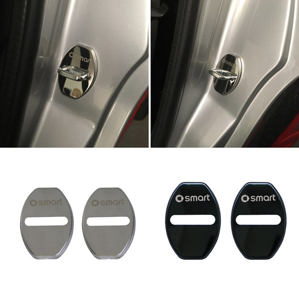 2pcs Stainless Steel Car Door Lock Cover for Smart 451 Fortwo 2008-2014 Decorative Rust Protection Cover Car Modification Accessories