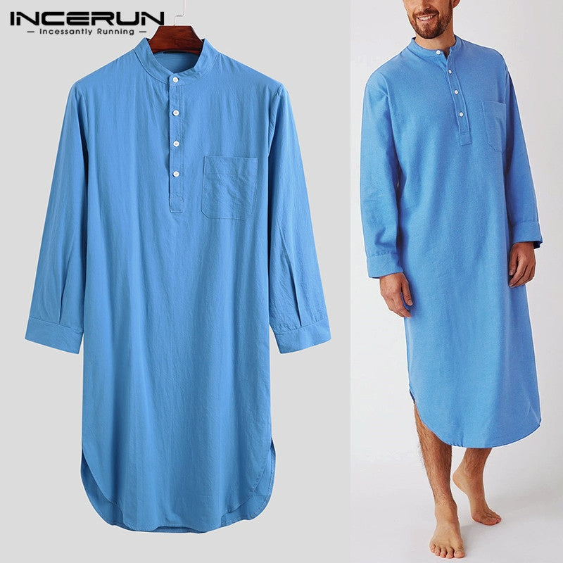 Comfortable and Soft Men's Fashion Long Sleeve Night Shirts Home Wear Lounge Shirts Pajamas