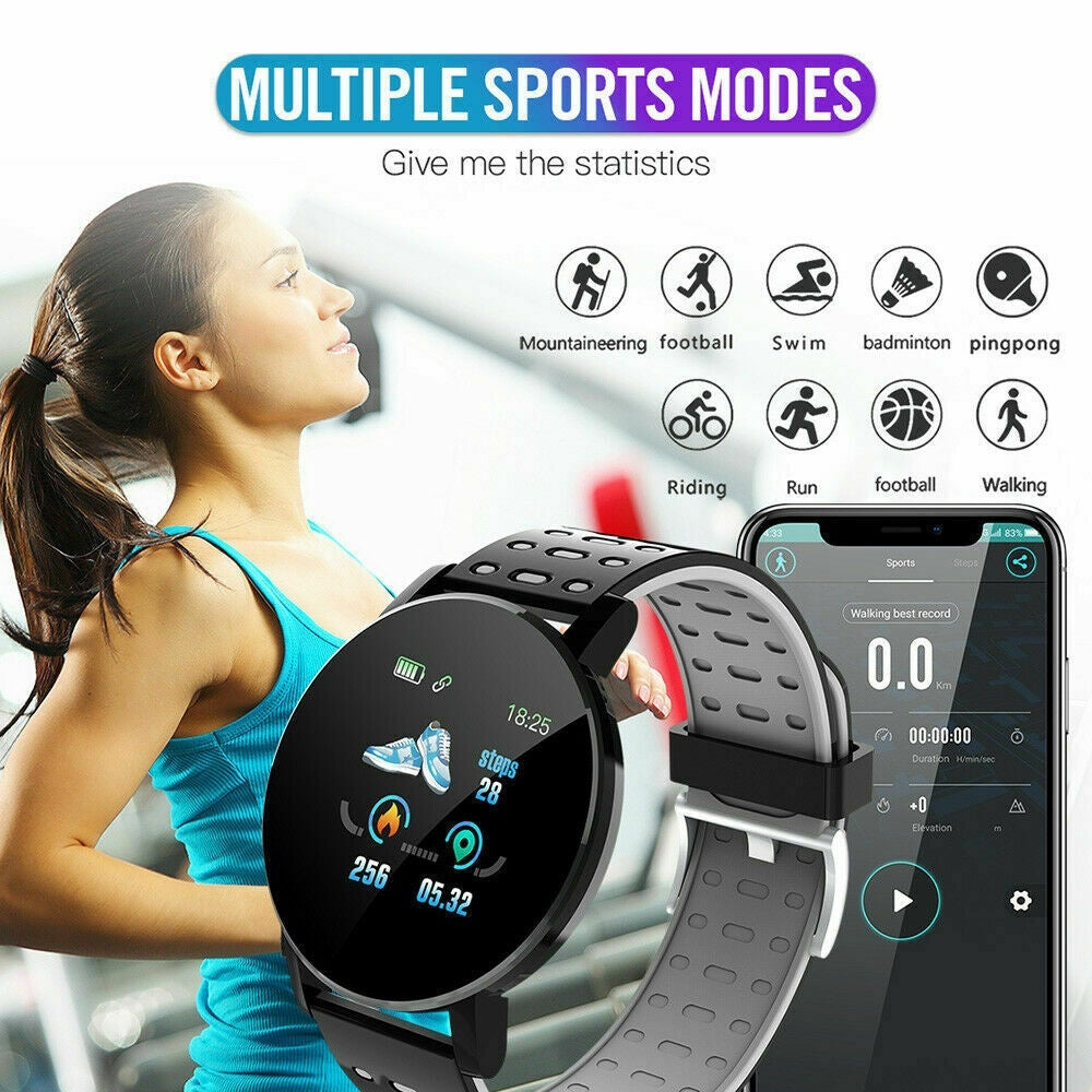 119Plus Color Screeen Fitness Tracker Smartband, Heart Rate Blood Pressure Monitor Smart Watch, Pedometer Step Calorie Counter Activity Tracker Wristband, Waterproof Sport Smart Bracelet for Kids Women Men