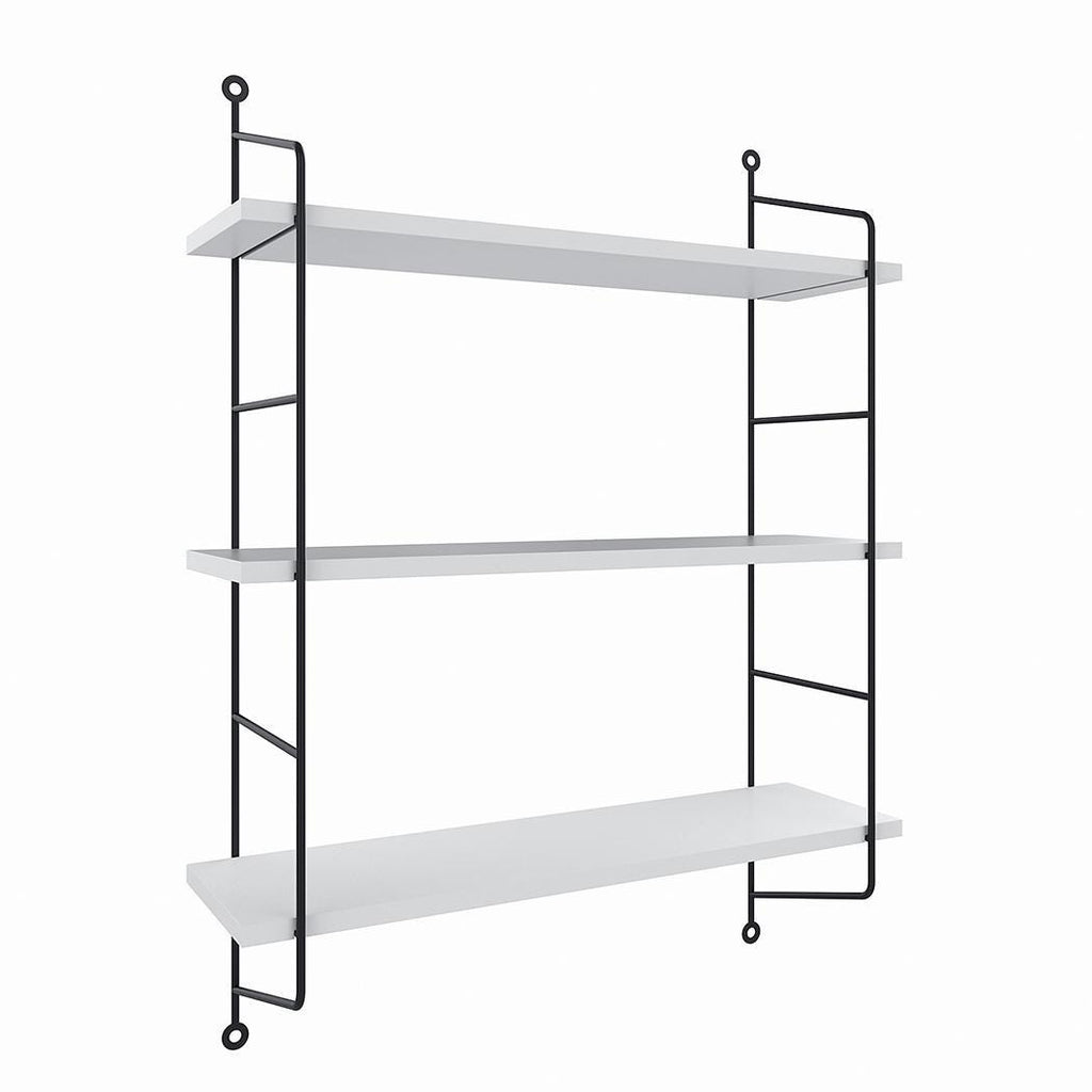 Wall Mounted Shelves Industrial Bookcase 3-Tier Pipe Wood for Office Home Bathroom Kitchen