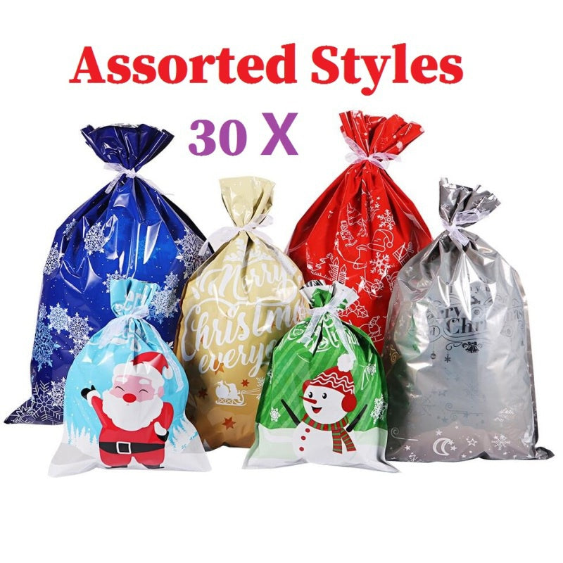 Newest Cabilock 30PCS Christmas Gift Bags Assorted Styles Christmas Gift Wrapping Goodie Bags Favor Pouches For Xmas Party Wedding
