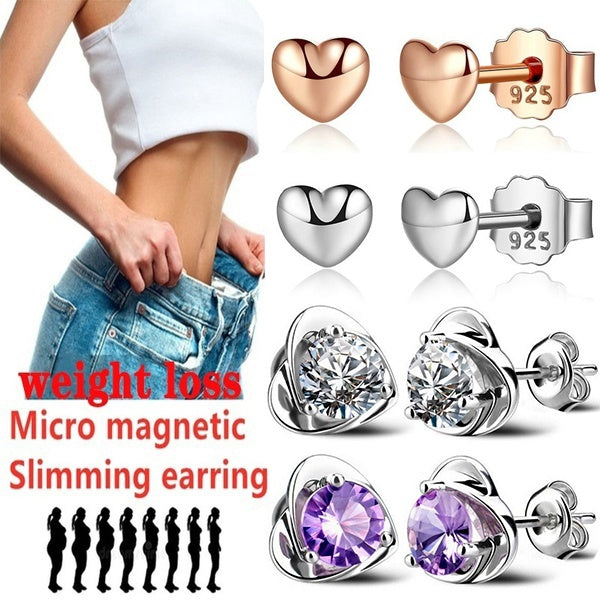 Exquisite Fashion Love Shape Weight Loss Earrings 925 Sterling Silver Fitness Exercise Beauty Health Jewelry Healthy Weight Loss Stimulation Magnetic Therapy Jewelry Diamond Earrings Valentine's Day Gift