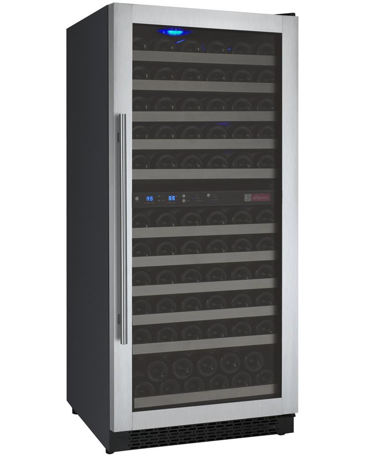 Tru-Vino 121 Bottle Dual Zone Stainless Steel Right Hinge Wine Refrigerator - TRUTAI