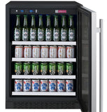 "Tru-Vino Stainless Steel Right Hinge 24"" Wide FlexCount II Beverage Center - TRUTAI"