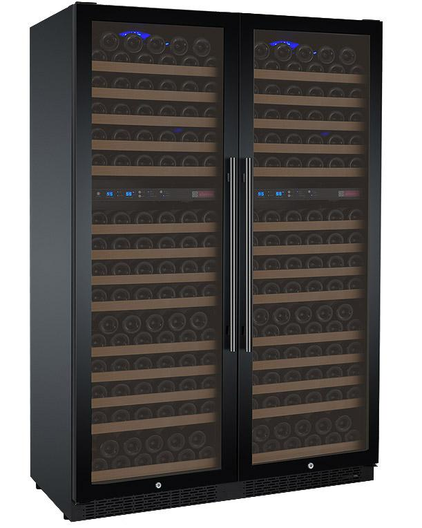 "Tru-Vino 344 Bottle Four Zone Black 47"" Wide Side-by-Side Wine Refrigerator - TRUTAI"