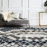 Gorgeous Gray Mix Cowhide Skin Handmade Patchwork Pattern Rug - TRUTAI