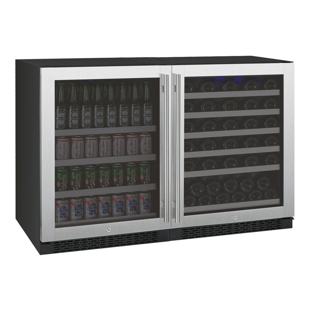"Stainless Steel 47"" Wide 56 Bottle/154 Can Dual Zone Side-by-Side Wine Refrigerator - TRUTAI"