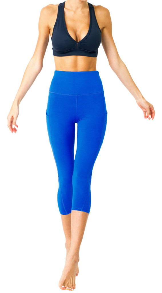 High Waisted Yoga Capri Leggings - Sky Blue - TRUTAI