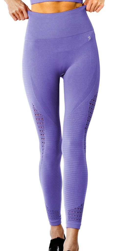 Mesh Seamless Legging With Ribbing Detail - Purple - TRUTAI