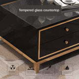 Black Modern Tempered Glass Tv Cabinet + Coffee Table or Drawer Stand - TRUTAI