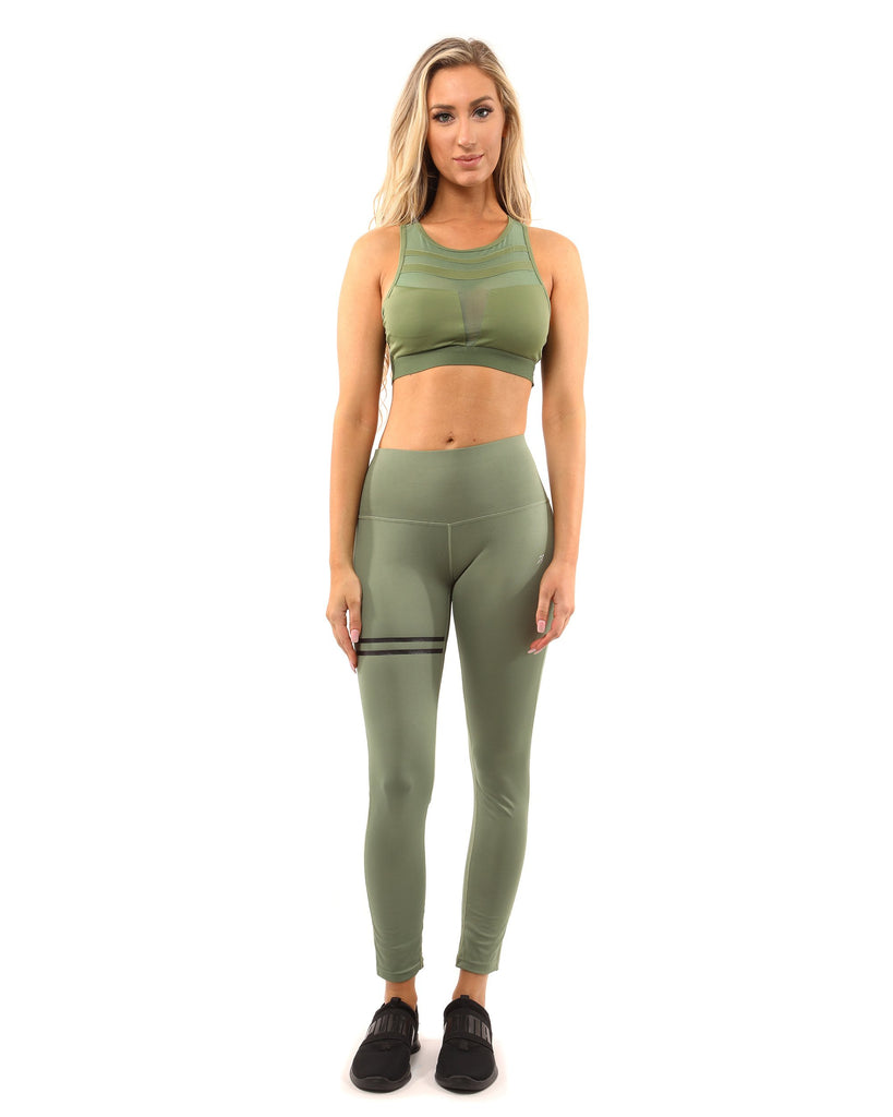 Huntington Set - Leggings & Sports Bra - Olive Green - TRUTAI