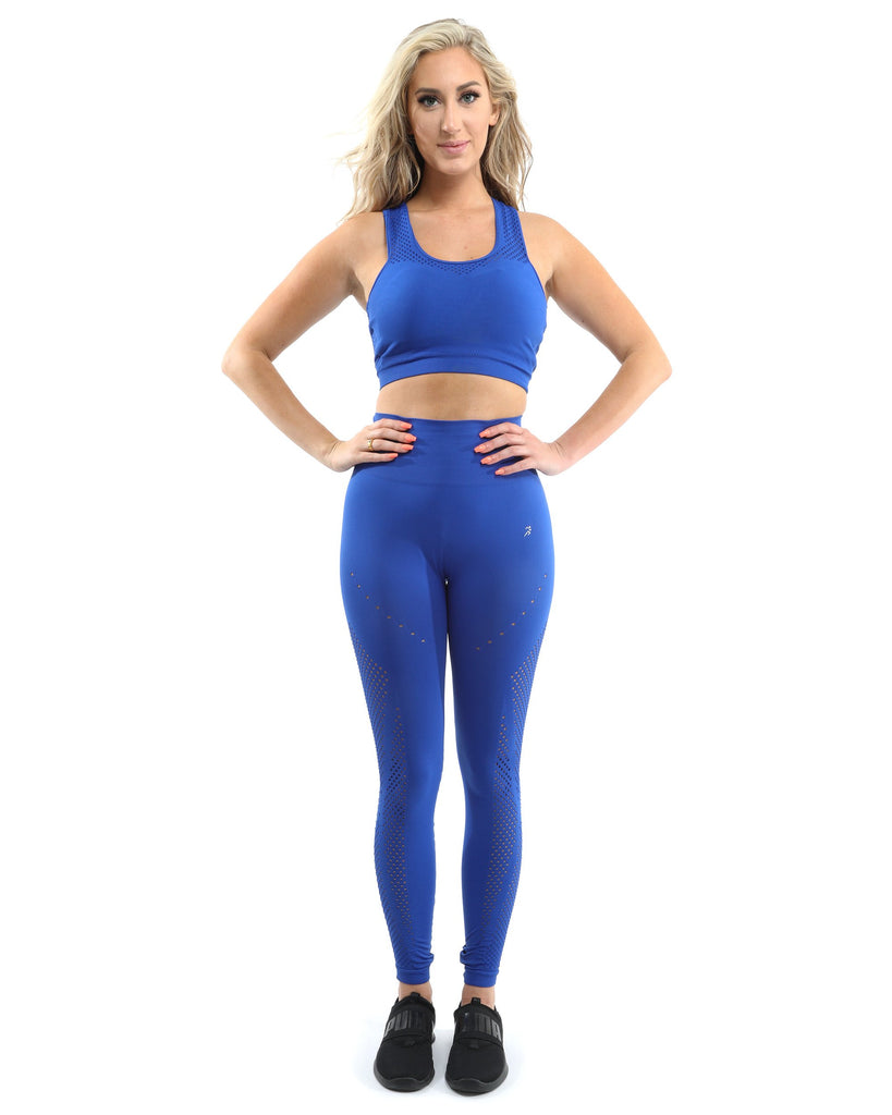 SALE! 50% OFF! Milano Seamless Set - Leggings & Sports Bra - Blue [MADE IN ITALY] - Size Small - TRUTAI