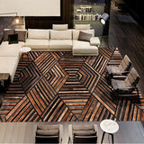 Luxury American Style Cowhide Dark Brown Black Geometric Rectangular Rug - TRUTAI