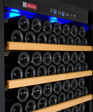 "Tru-Vino 554 Bottle Dual Zone Black 63"" Side-by-Side Wine Refrigerator - TRUTAI"